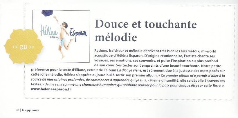 """""""Là d'où je viens"""", premier album chroniqué dans le magazine Happinez."""